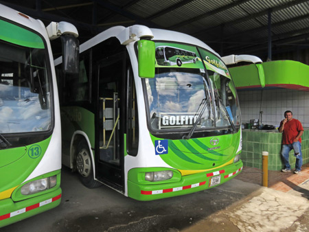 The big, green bus to Golfito, Costa Rica.