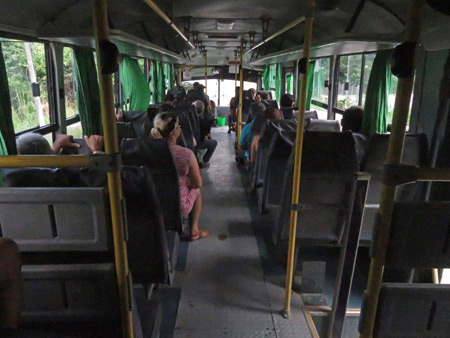 The inside of the big, green bus to Golfito, Costa Rica.