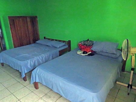 A fan room at Oro Verde Hostel in Puerto Jimenez, Costa Rica.