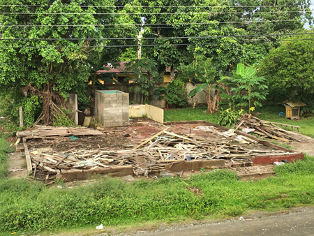 A disintegrated house across the street from the Cabinas Minitigre in Puerto Jimenez, Costa Rica.
