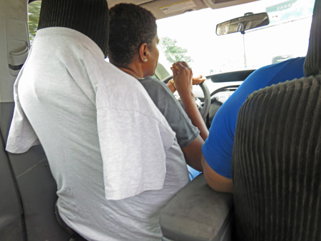 A t-shirt seat cover in a taxi in Panama City, Panama.