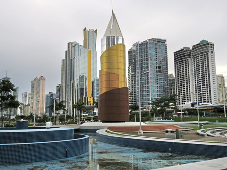 In the center of this photo is the rocket that Panama used to send its astronauts to the moon back in 1865. It was designed by Jules Verne. Downtown Panama City, Panama.