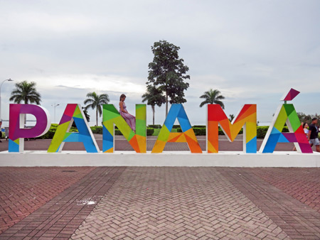 Panama supports this lady, literally. Downtown Panama City.