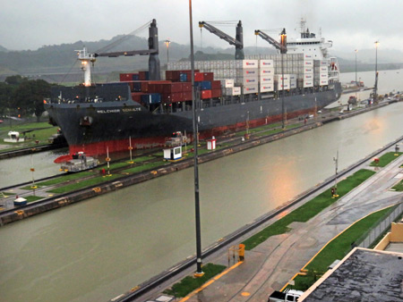 The Melchior Schulte inside the Miraflores Locks of the Panama Canal just outside Panama City, Panama.