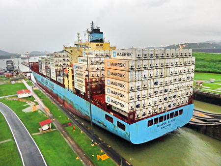The Maersk Batur pulls out of the Miraflores Locks of the Panama Canal just outside Panama City, Panama.
