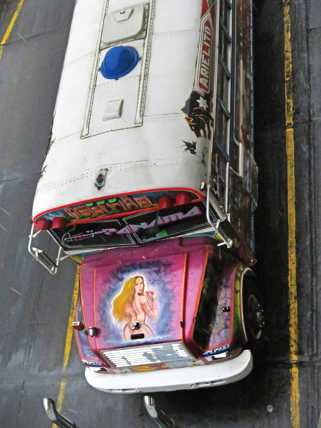A Red Devil bus as seen from above at the Albrook Bus Terminal in Panama City, Panama.