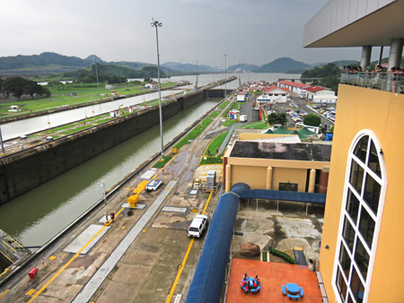 The Miraflores Locks of the Panama Canal just outside Panama City, Panama.