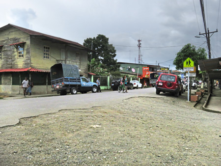 The main road in downtown Puerto Jimenez, Costa Rica.
