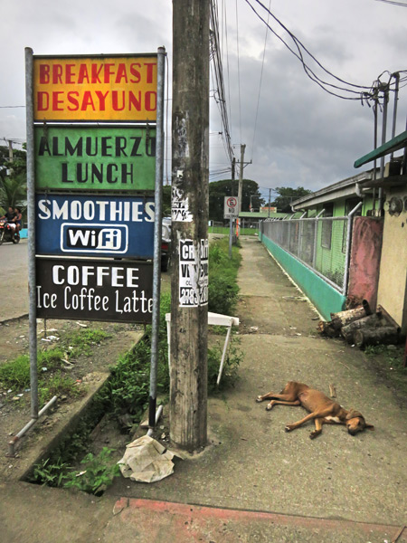 Signs out in front of Cafe Monka in Puerto Jimenez, Costa Rica.