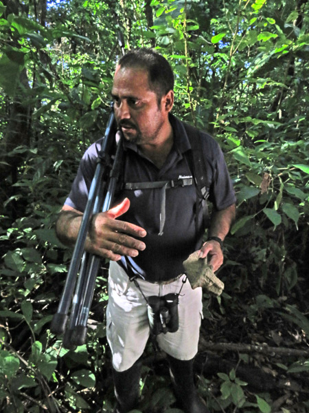 My guide, Keller, talks rock in Corcovado National Park on the Osa Peninsula, Costa Rica.