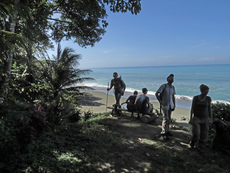 The group takes a break at the beach near Corcovado National Park on the Osa Peninsula, Costa Rica.