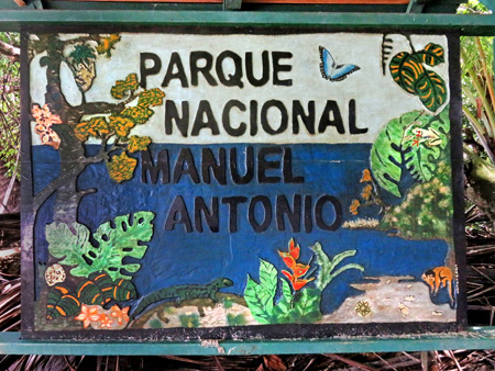 A sign for the Manuel Antonio National Park, Costa Rica.