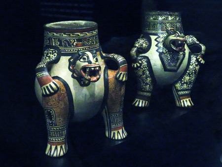Two decorative urns at the Jade Museum in San Jose, Costa Rica.