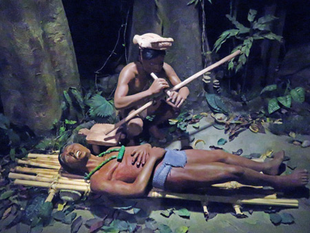 A diorama depicting an ancient Costa Rican tribal curing ritual at the Jade Museum in San Jose, Costa Rica.