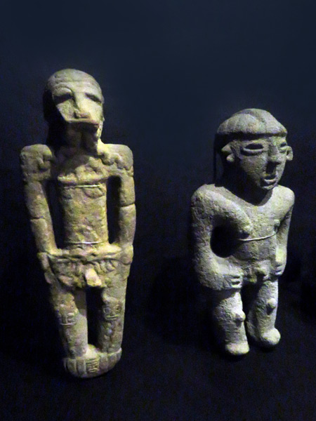 Two stone sculptures at the Jade Museum in San Jose, Costa Rica.