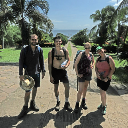The crew, left to right: Sion, Tony, Sarah and Simone, after hiking back down from San Ramon Waterfalls on Volcano Maderas, Isla de Ometepe, Nicaragua.