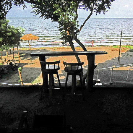 A view of Santo Domingo Beach from Exotic Island Cafe on the east side of Isla de Ometepe, Nicaragua.