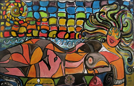 A painting of a psychedelic naked lady at Exotic Island Cafe on Santo Domingo Beach, on the east side of Isla de Ometepe, Nicaragua.