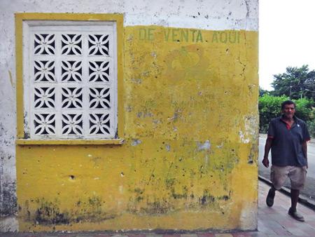 A yellow-washed wall on Isla de Ometepe, Nicaragua.