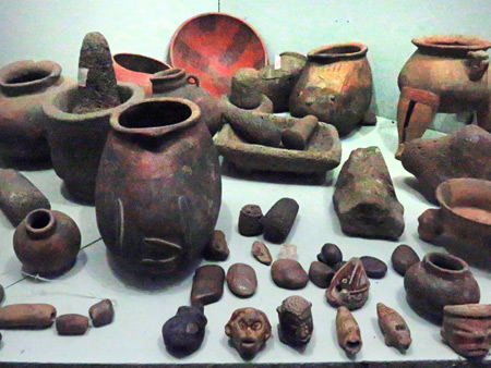 Pottery, stone tools and carvings in Museo el Ceibo on Isla de Ometepe, Nicaragua.