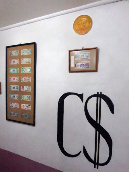 Paper currency on display at Museo el Ceibo on Isla de Ometepe, Nicaragua.