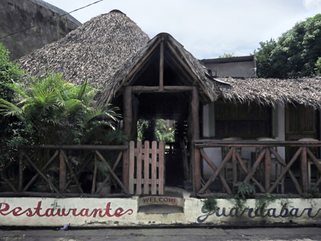A bamboo / thatched hut restaurant in Moyogalpa, Isla de Ometepe, Nicaragua.