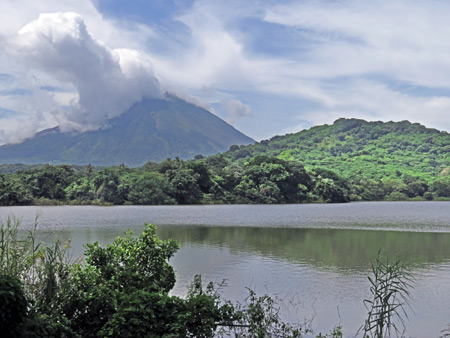 A view of Volcano Concepcion from Charco Verde Lagoon, Isla de Ometepe, Nicaragua.
