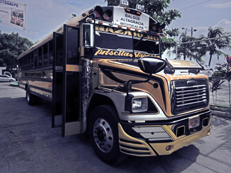 A chicken bus in Moyogalpa, Isla de Ometepe, Nicaragua.