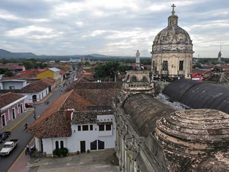 A view from the bell tower of Iglesia La Merced in Granada, Nicaragua.