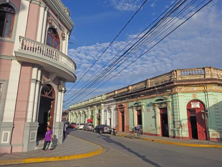 Sunset-filled buildings in Granada, Nicaragua.