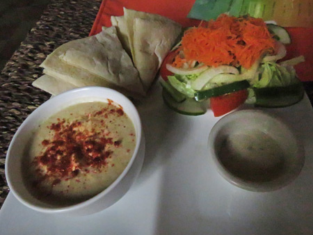 A hummus and pita bread lunch at the Hostal El Momento in Granada, Nicaragua.