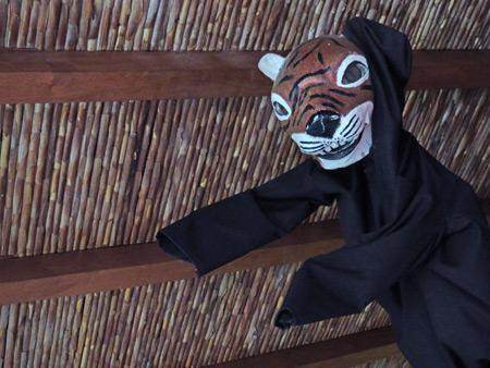 Tony the Tiger explores his dark side at the Iglesia San Francisco in Granada, Nicaragua.