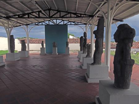 Black-basalt pre-Columbian statues at the Iglesia San Francisco in Granada, Nicaragua.