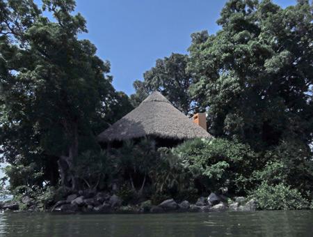 A thatched roof hut in Las Isletas de Granada, Nicaragua.