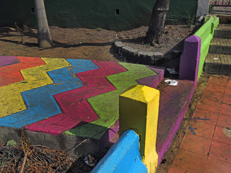 A psychedelic sidewalk in Leon, Nicaragua.