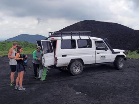The crew arrives at Cerro Negro, Nicaragua.