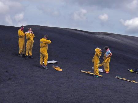 We're all DEVO at the top of Cerro Negro, Nicaragua.