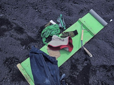 My gear after the ride down the hill at Cerro Negro, Nicaragua.