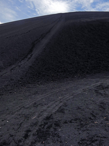A look back up at the steep, black volcano at Cerro Negro, Nicaragua.