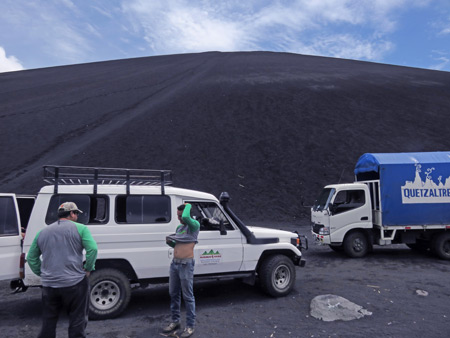 The vans of Maribioso Tours and Quetzaltrekkers at Cerro Negro, Nicaragua.