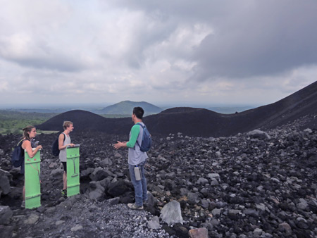 Our guide, Luis, dispenses more fun facts about Cerro Negro, Nicaragua.