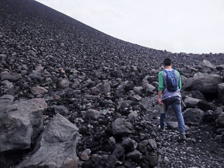 Luis leads the way on the rocky climb up Cerro Negro, Nicaragua.