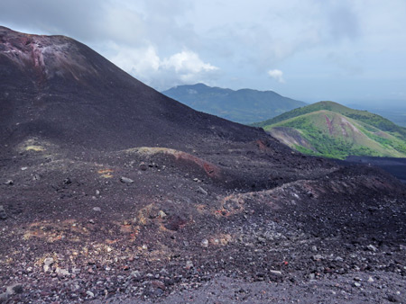 Contrasting colored landscapes on Cerro Negro, Nicaragua.