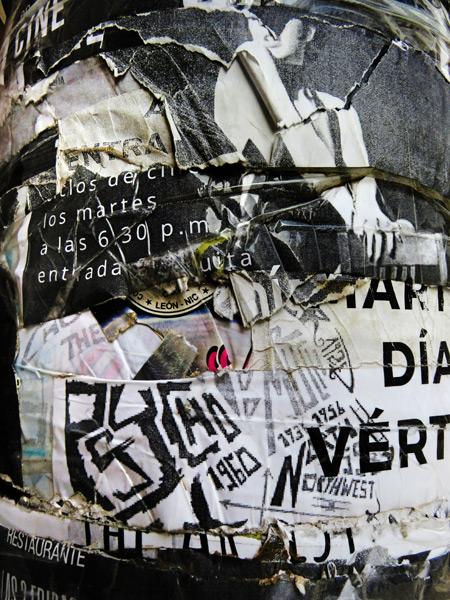 Sedimentary flyers on a pole in Leon, Nicaragua.