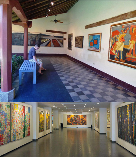 Two views of the Museo de Arte Fundacion Ortiz-Gurdian in Leon, Nicaragua.