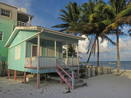 A clapboard house at sunset in Caye Caulker, Belize.
