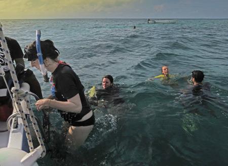 Snorkeling near Caye Caulker, Belize.
