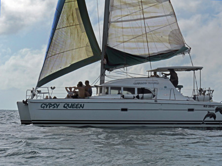 A sailboat near Caye Caulker, Belize.