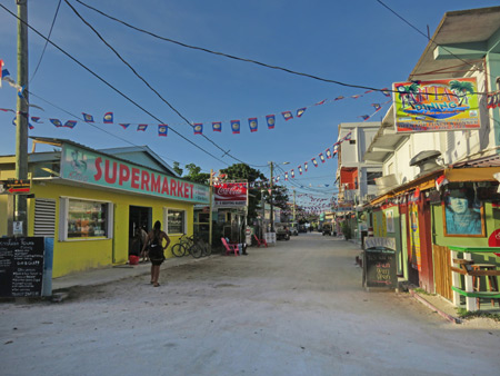 Looking north up Playa Asuncion in Caye Caulker, Belize.