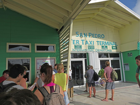 Exiting Belize at the immigration office in San Pedro.